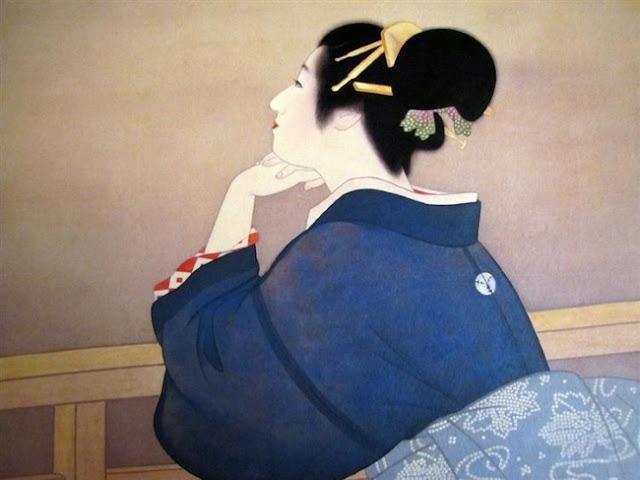 Уэмура Сёэн Женщина ждет восхода Луны