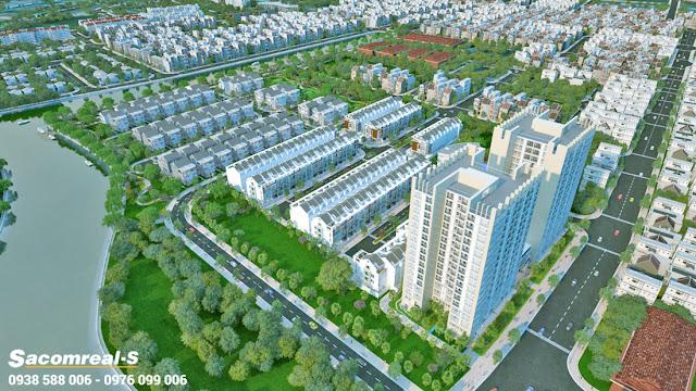 Phối cảnh dự án Jamona Golden Silk quận 7 với nhiều mảng xanh.