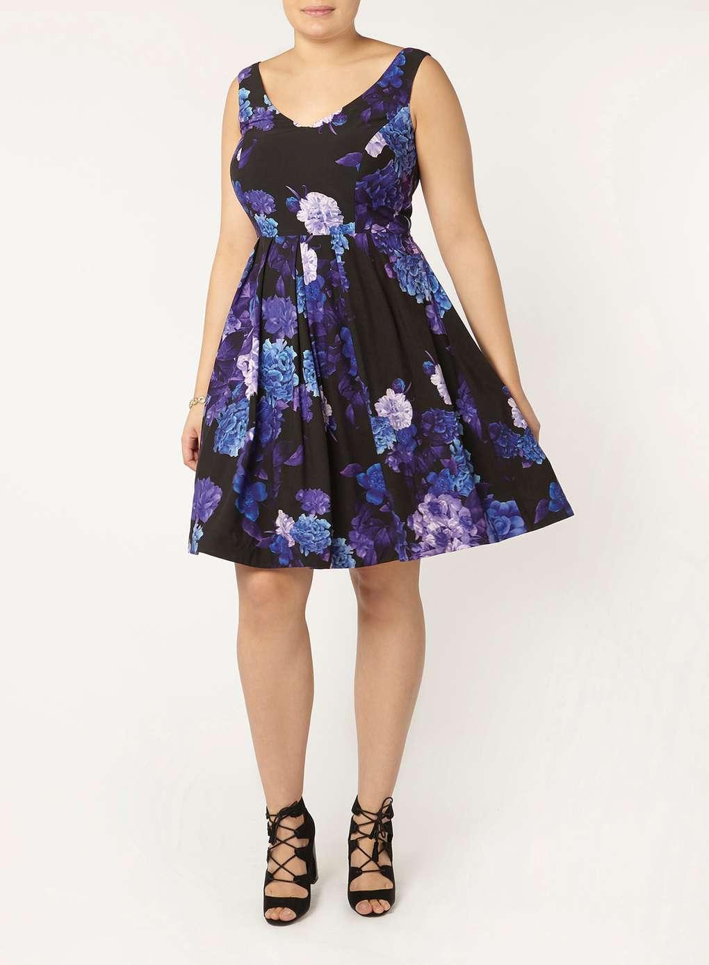 6f8bb1102d2c City Chic Black Floral Printed Dress - Evans