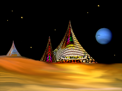 Three concaved, pyramids stand in an alien desert with a starry background.