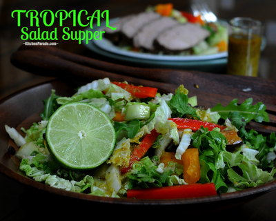 Tropical Salad Supper, another Quick Supper ♥ KitchenParade.com, a magical melange of fruits and vegetables in a lime vinaigrette, goes beautifully with the companion recipe for Tropical Pork Tenderlion.