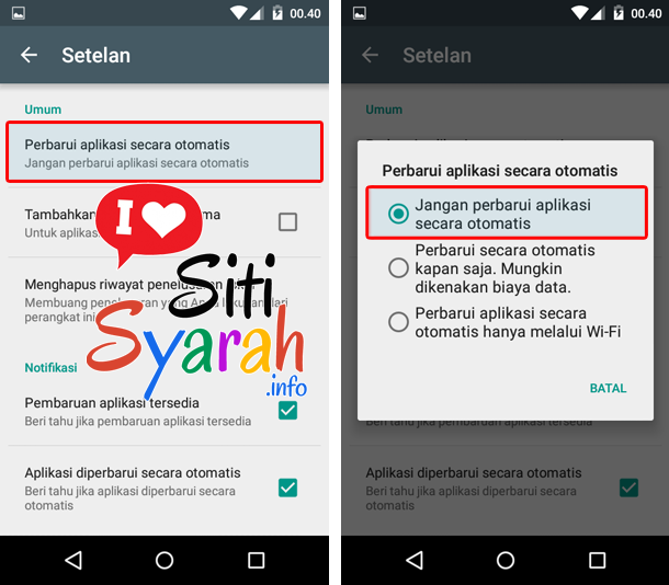 disable auto update game android