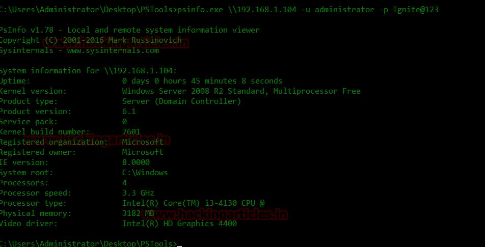Remote Windows PC Enumeration using PSTools