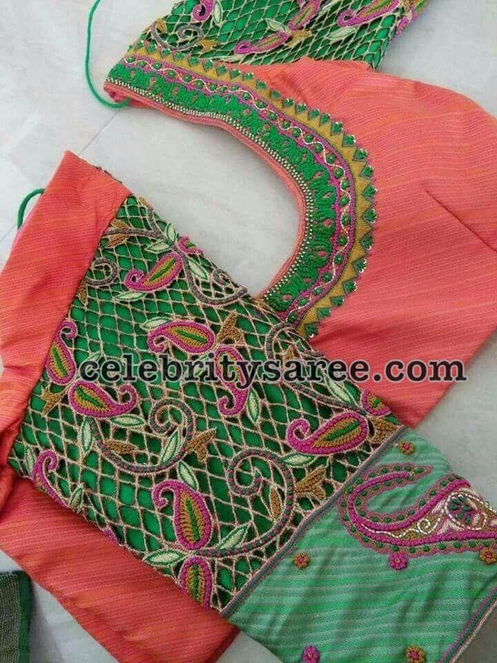 f74d3e51e07ccc 3 Quarter Sleeves Cut Work Blouses - Saree Blouse Patterns