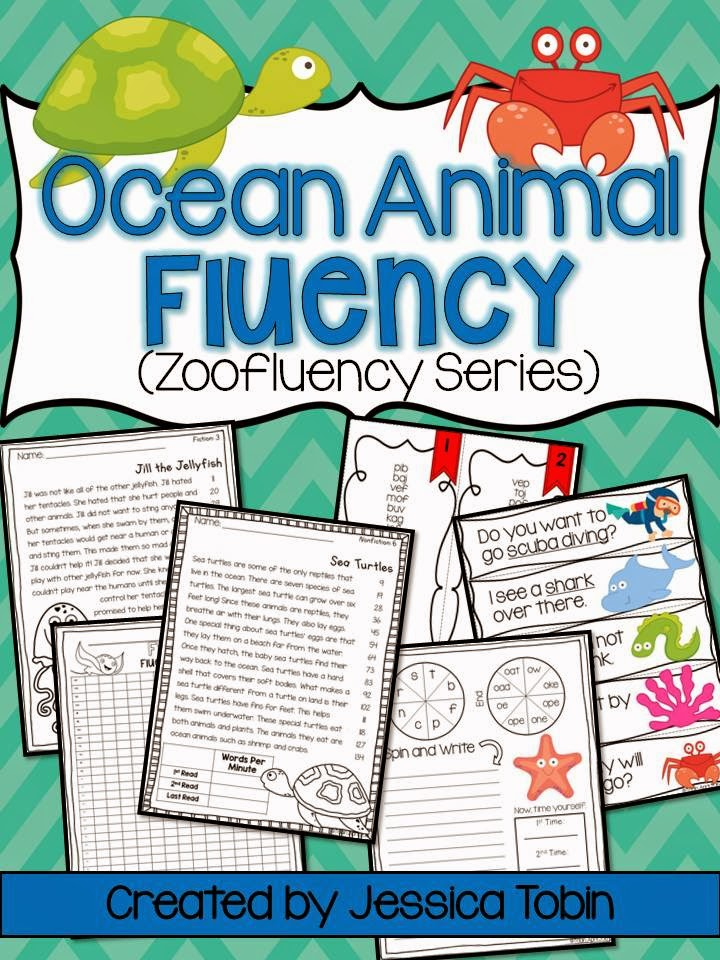 FREEBIE fluency passage for ocean animals- includes student copy, teacher copy, and comprehension questions- for free!