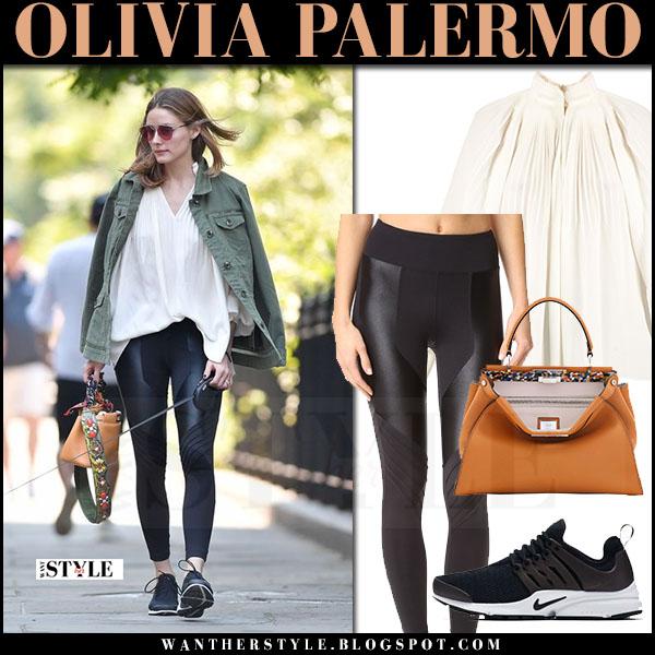 Olivia Palermo In Army Green Jacket Cream Pleat Tibi Blouse And Black K Leggings Walking