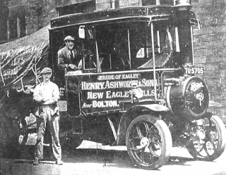 Ashworths' steam lorry at New Eagley Mill, c1925