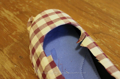 Step Nine: Fold fabric under in the toe