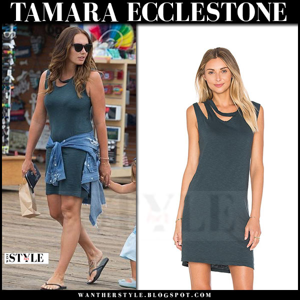 Tamara Ecclestone in dark green tank dress lna what she wore