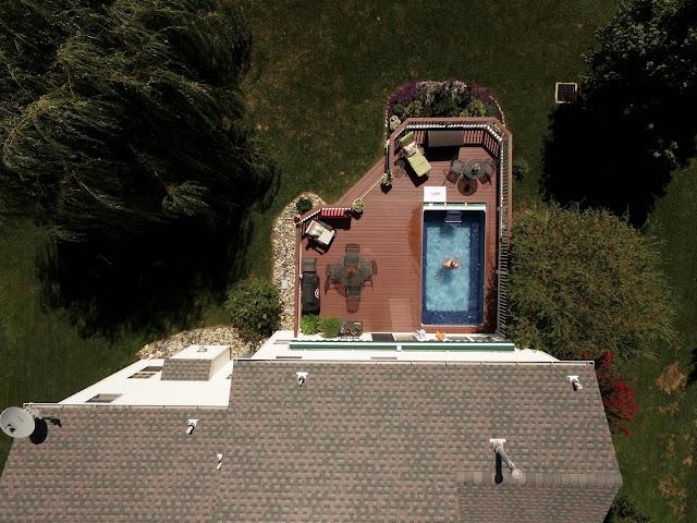 Drone photograph of an Original Endless Pool in Oxford, Pennsylvania