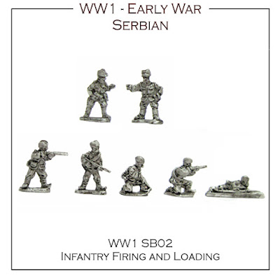WW1-SB02 Serbian Infantry Firing & Loading inc. Command - (32 figures + 4 bases)