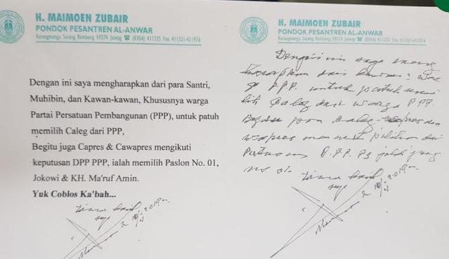Tulisan Tangan Mbah Moen Agar Memilih Jokowi dan KH Ma'ruf Amin