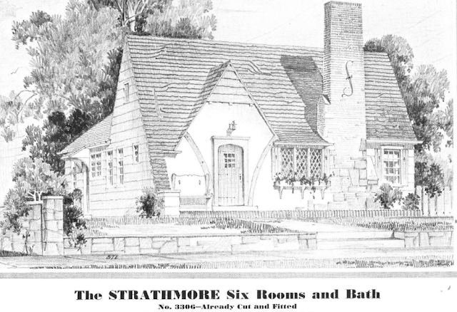 close up of house: Sears Strathmore in the 1932 Sears Modern Homes catalog