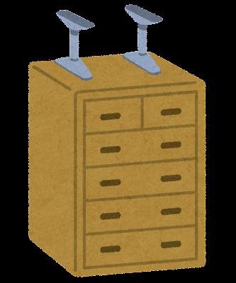 家具の転倒防止用品のイラスト「つっぱり棒」