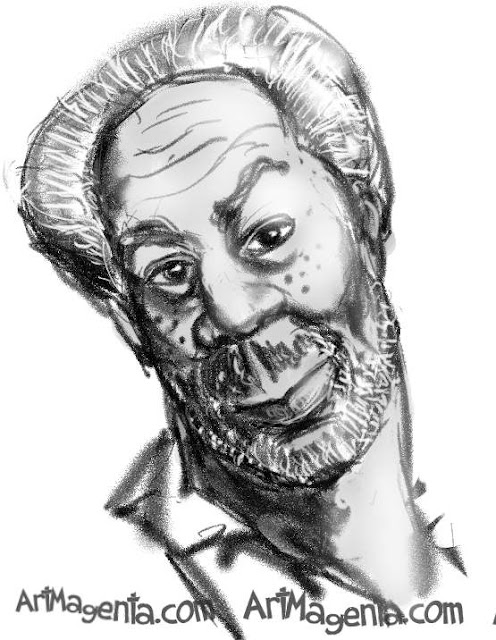Morgan Freeman caricature cartoon. Portrait drawing by caricaturist Artmagenta