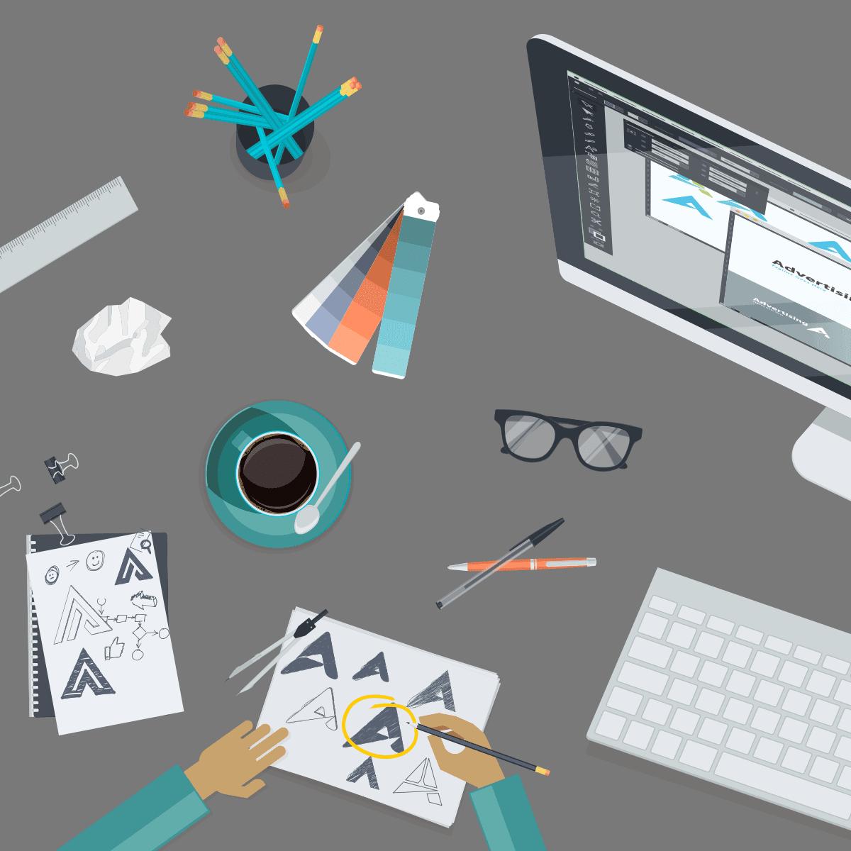 logo designer creating a flexible logo for online use