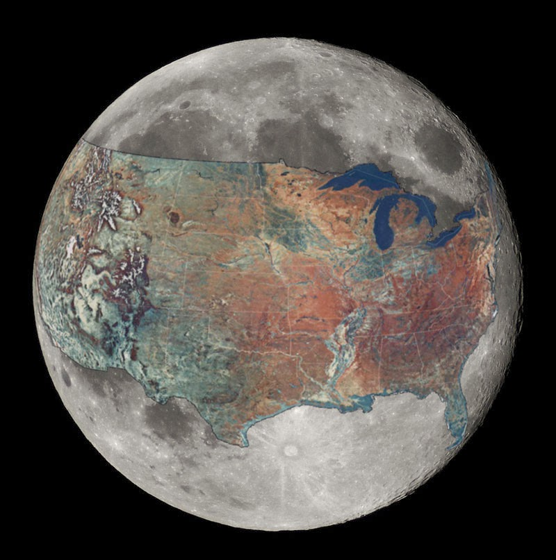 40 Maps That Will Help You Make Sense of the World - Map of Contiguous United States - Overlaid on the Moon