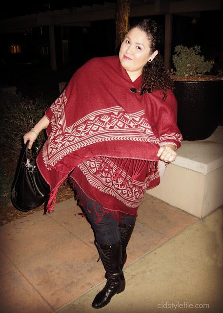 plus size style, fringe poncho, ralph lauren boots, cid style file, winter style, style over 40 , ross dress for less, old navy,