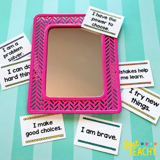 Students repeat the Positive Affirmation as they look at themselves in the mirror!