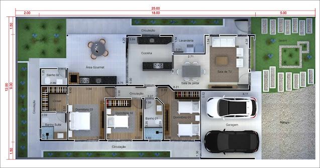 Planta casa cozinha integrada