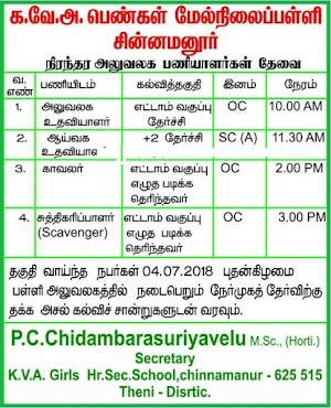 04 Office Assistant, Lab Assistant, Watchman and Scavenger in Tamil Nadu Government Aided School