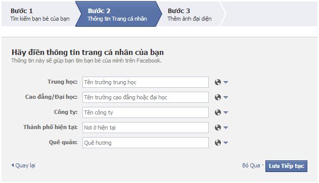 Bổ sung thông tin Đăng ký facebook