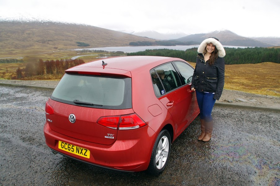 Girl with hire car in Scotland