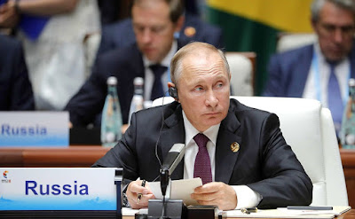Vladimir Putin at the BRICS Leaders' meeting in the expanded format.