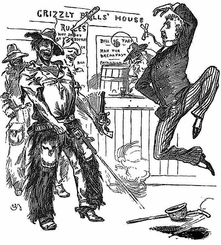 a funny 1893 illustration of bully cowboys makinga dude bullet dance