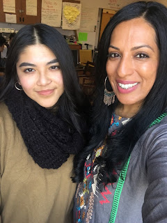 Mission High student Leslie Mendez with her teacher Fakhra Shah.