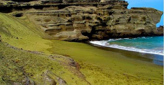 Praia da areia verde