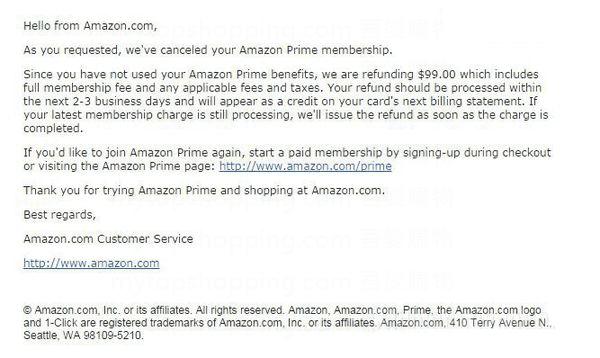 美國Amazon Prime 退款電郵通知