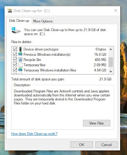 disk clean up windows old