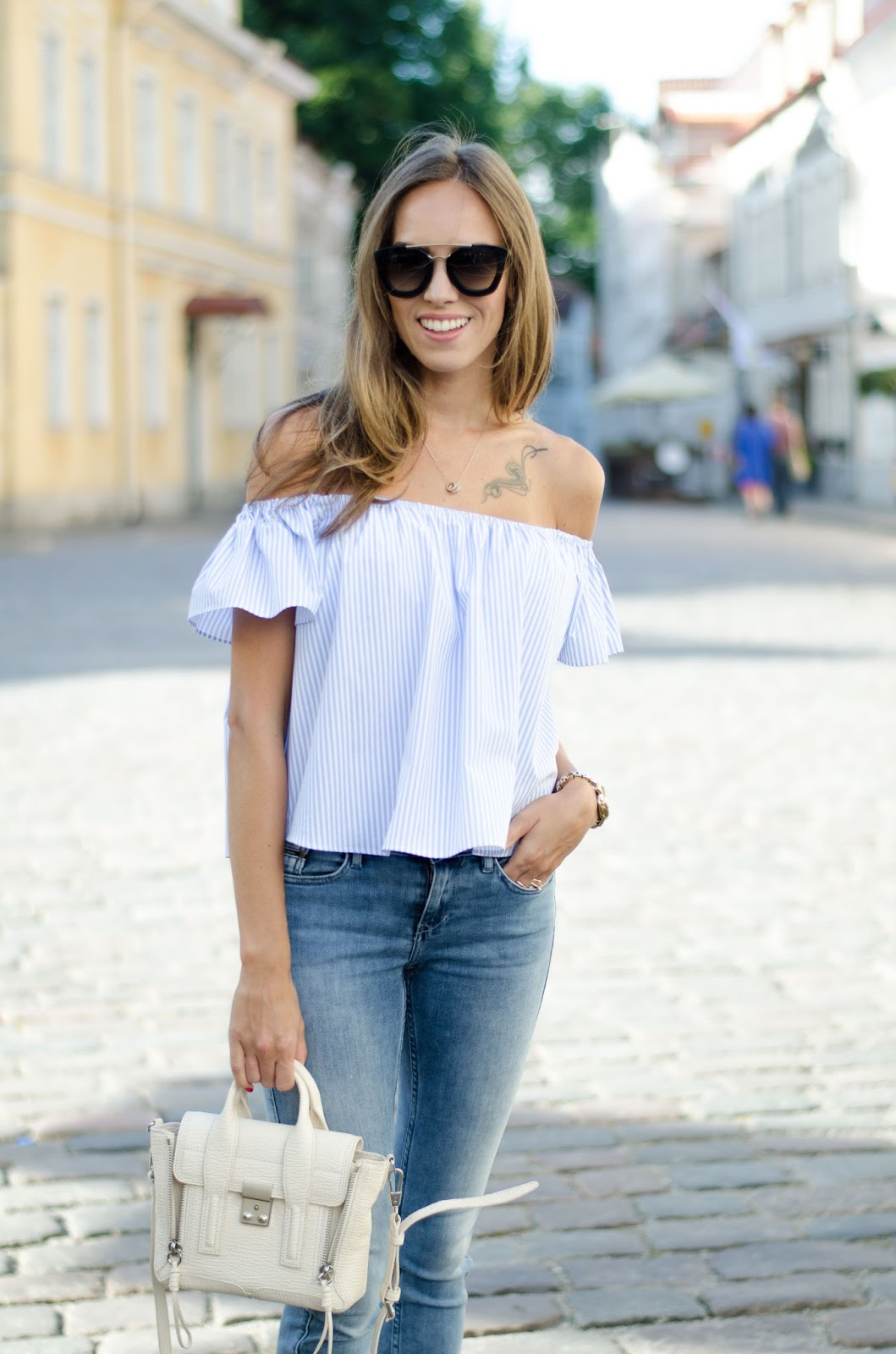 kristjaana mere light blue off shoulder top summer outfit