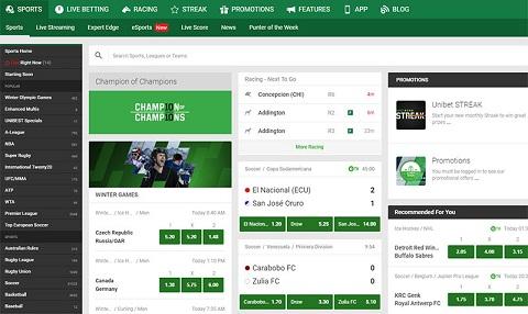 Giao diện Unibet Australia app