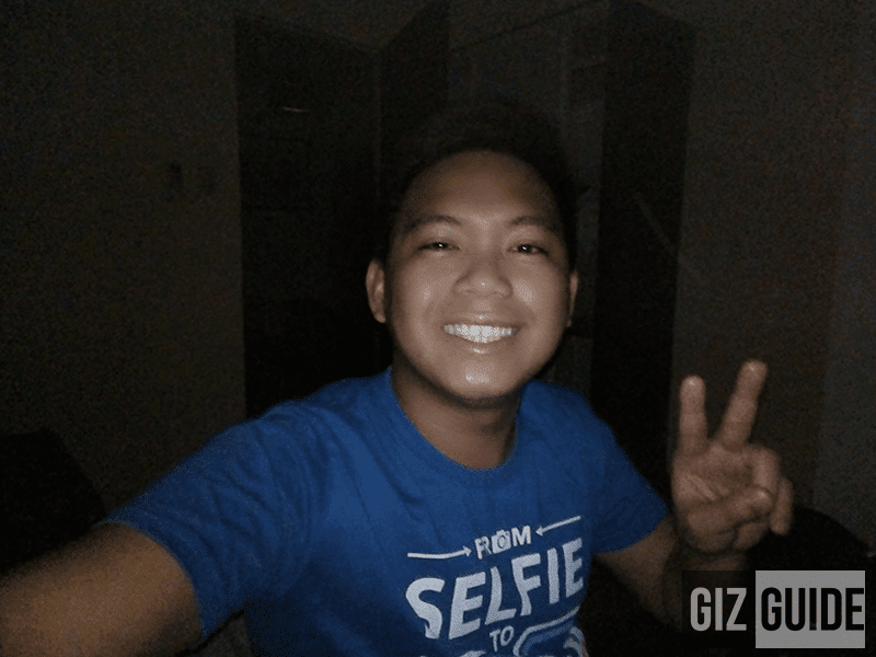 Selfie with softlight flash in super lowlight