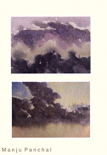 water colour painting of clouds on strathmore paper by Indian artist Manju Panchal