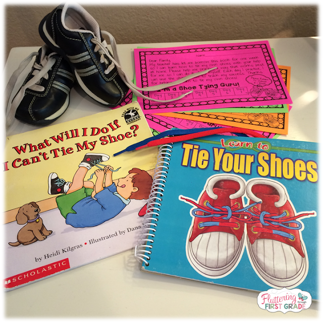 Shoe tying take home. Help families bridge the gap between home and school by sending home helpful tips, tricks and practice reminders for teaching kids how to tie their own shoes.