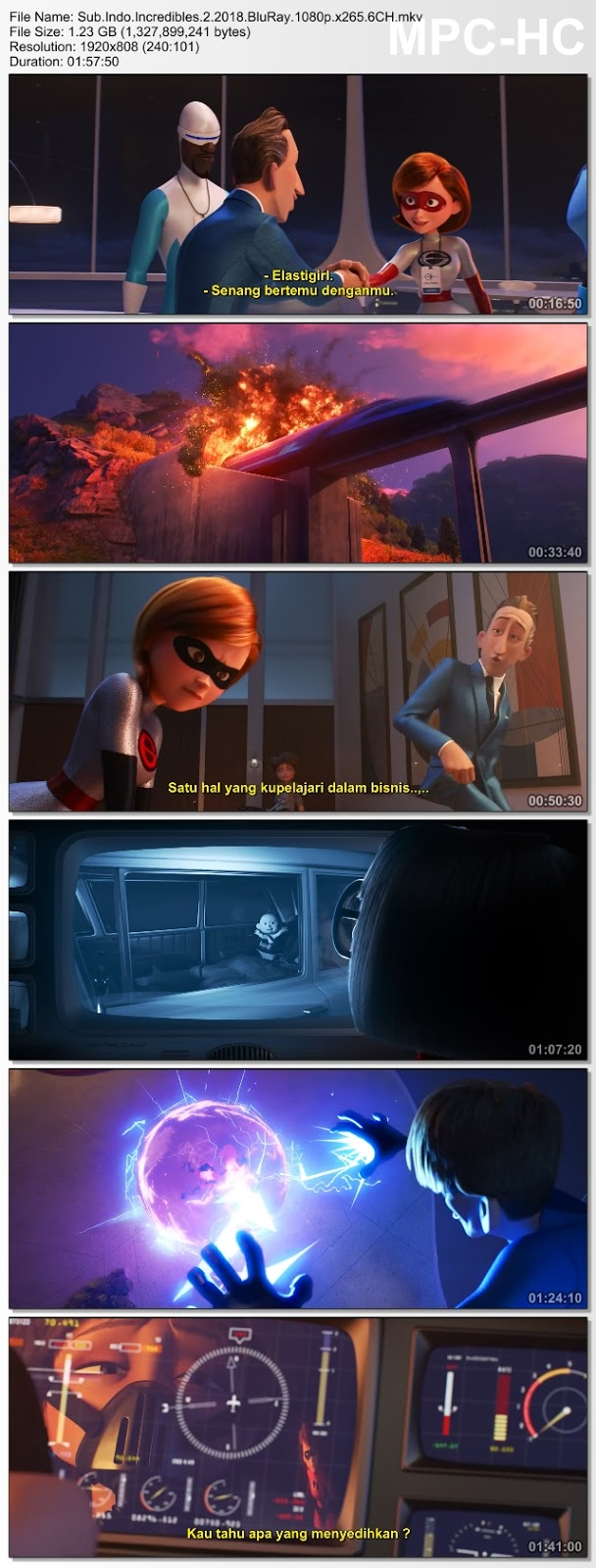 Screenshots Download The Incredibles 2 (2018) BluRay 480p & 3GP Subtitle Indonesia
