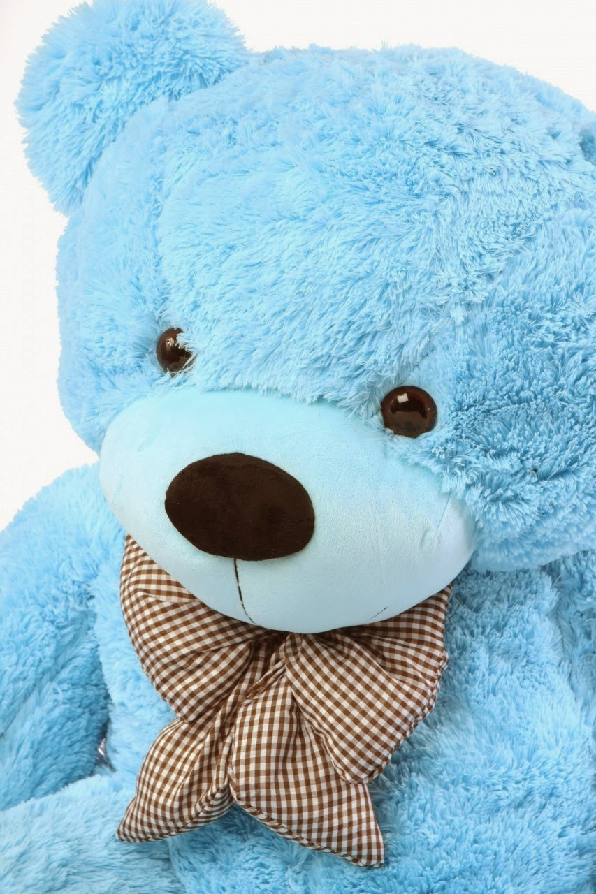 Happy Cuddles light blue teddy bear
