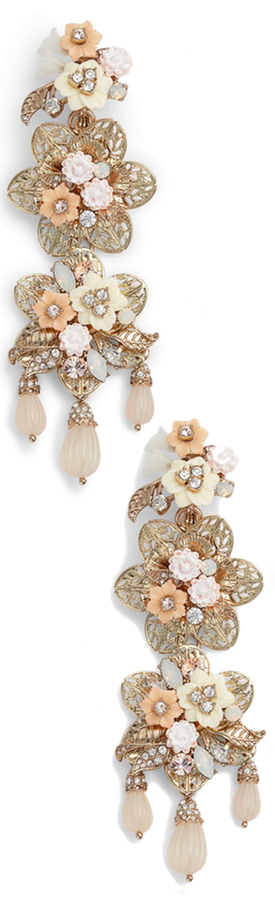 Marchesa Chandelier Floral Drop Earrings