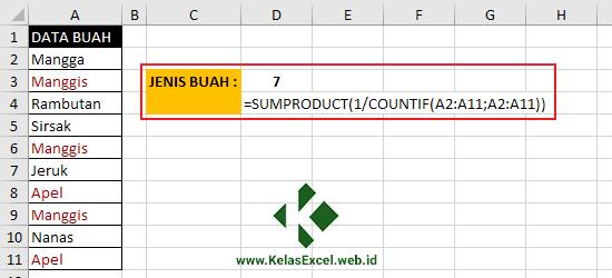 Menghitung Data Unik Dengan Fungsi SUMPRODUCT dan COUNTIF