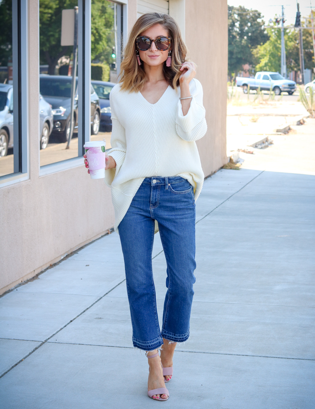 love by design cream sweater topshop cropped jeans and coffee