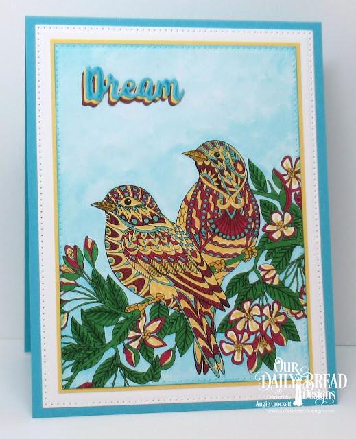 ODBD God's Beauty Coloring Pages, ODBD Custom Inspiration Words Dies, ODBD Custom Pierced Rectangles Dies, Card Designer Angie Crockett