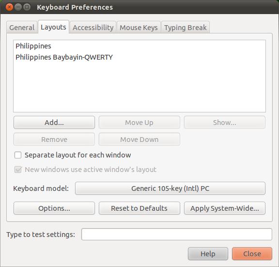 Keyboard Preferences - Select Philippines Keyboard Layouts