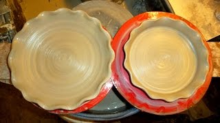 Making a Simple Fluted Pottery Pie Plate & Flan Dish on the wheel