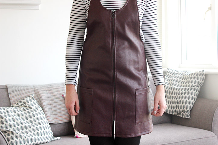 Leather pinafore dress in wine