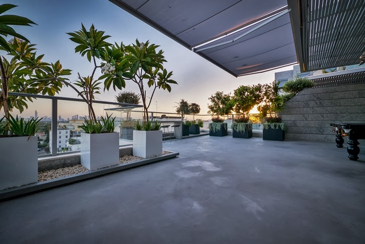 Terrace in the Penthouse Apartment in Ramat HaSharon, Israel