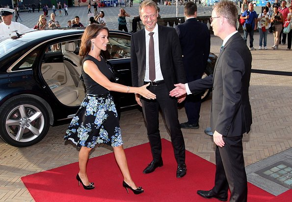 Danish Princess Marie at international food summit at Copenhagen City Hall, Princess Marie wore Ganni Blue Flower Print Midi Skirt, Salvatore Ferragamo Selaby Pump