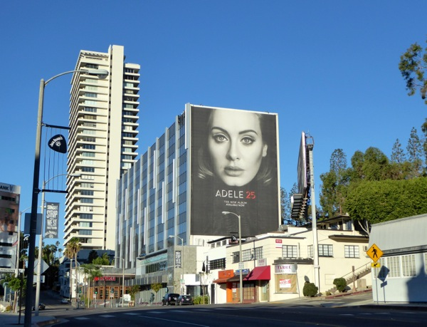 Giant Adele 25 album billboard Sunset Strip